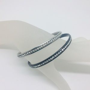 Jewelry - Pair Bangle Bracelets black silver crystals